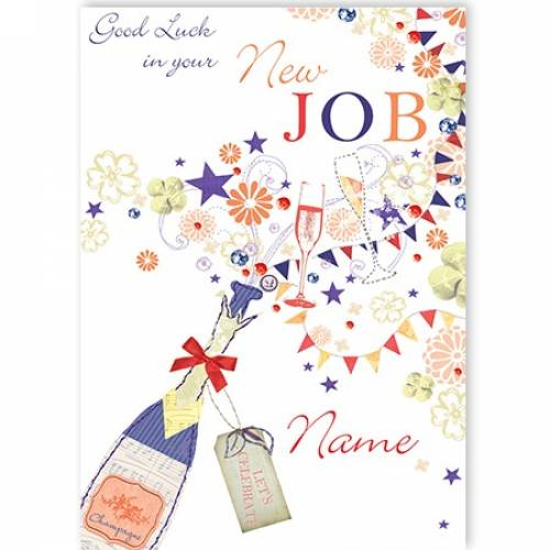 Champagne Bottle And Flutes New Job Card