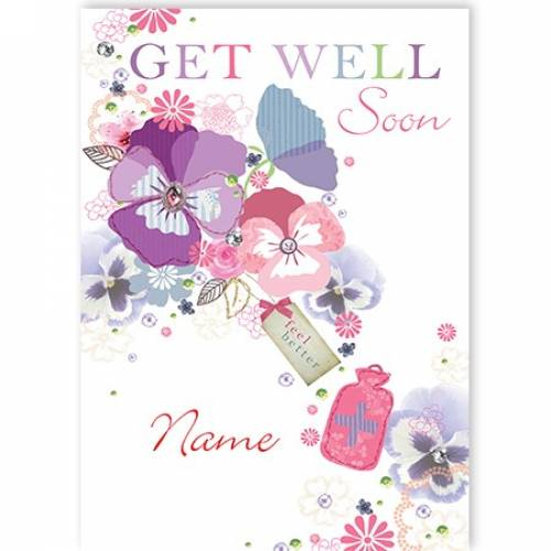 Water Bottle And Flowers Get Well Soon Card