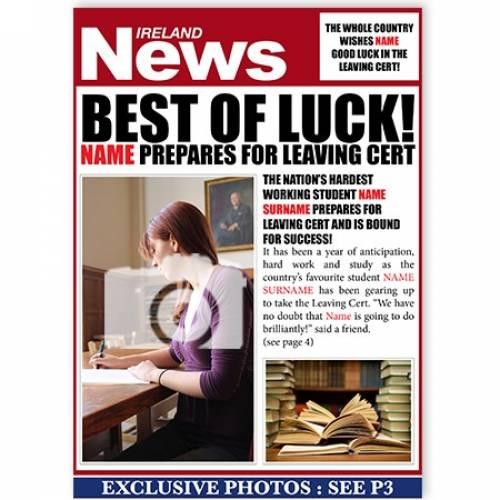 Best Of Luck Leaving Cert - Exam Prep Card