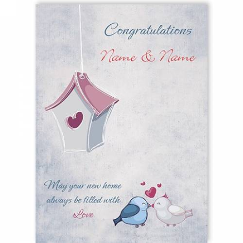 Congratulations New Home Birds Love Heart Bird House Card