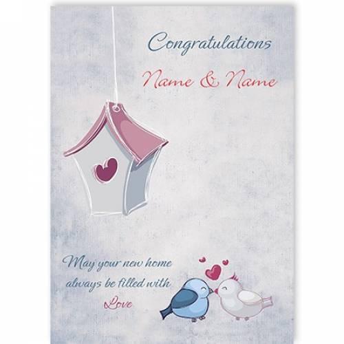 Congratulations New Home Birds Love Heart Bird House Card