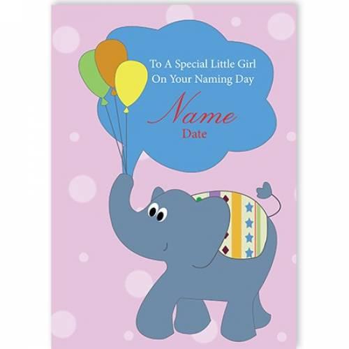 Naming Female Elephant Balloons Card