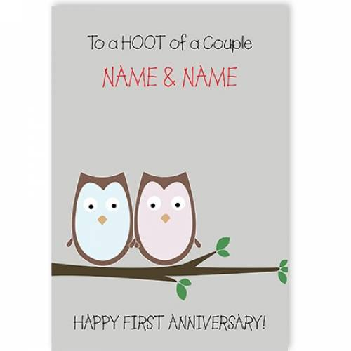 A Hoot Of A Couple First Anniversary Card