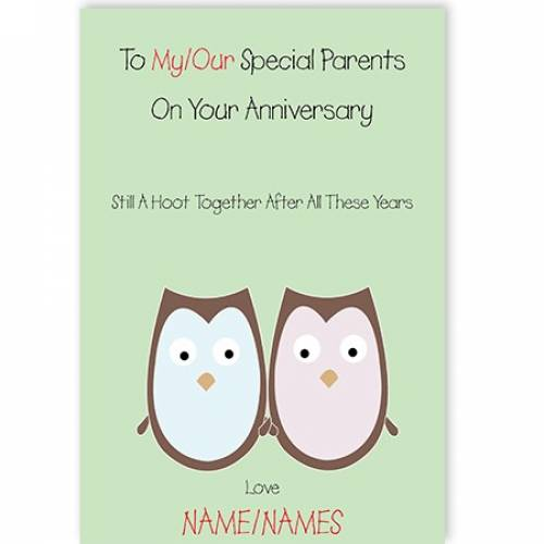 Owls To Our/my Special Parents Anniversary Card