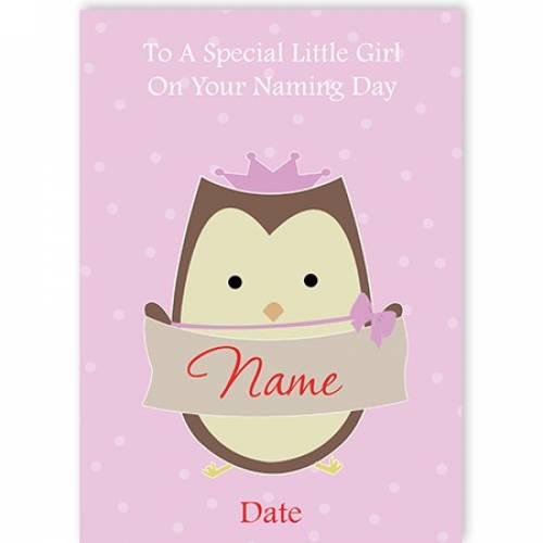 Owl Special Girl On Naming Day Card