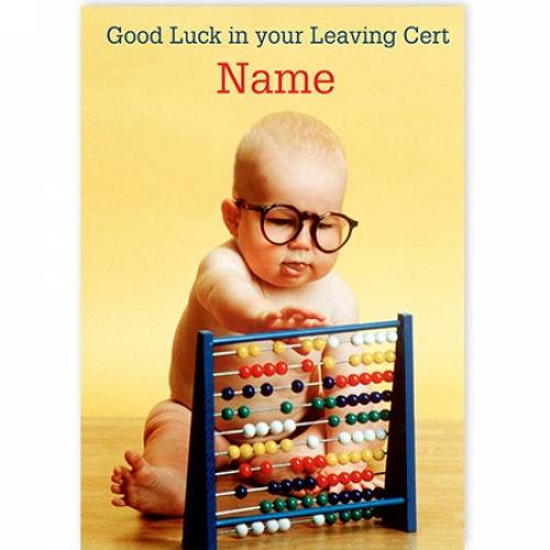 Baby With Abacus Leaving Cert Good Luck Card