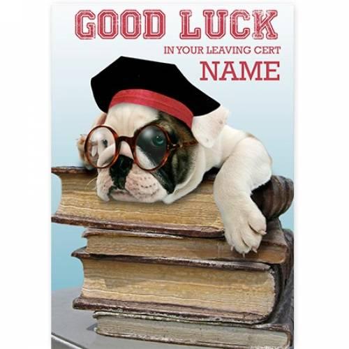 Dog On Books Leaving Cert Good Luck Card