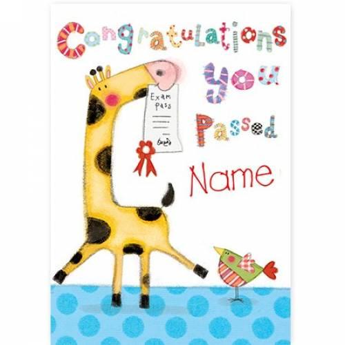 Giraffe Congratulations You Passed Exams Card