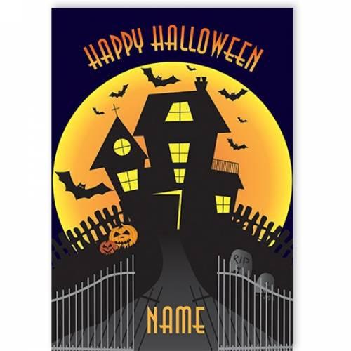 Happy Halloween Spooky House Card