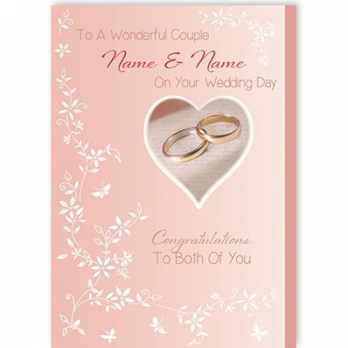 To A Wonderful Couple Rings On Your Wedding Day To You Both Card