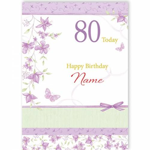 80th Female Purple Flowers Birthday Card