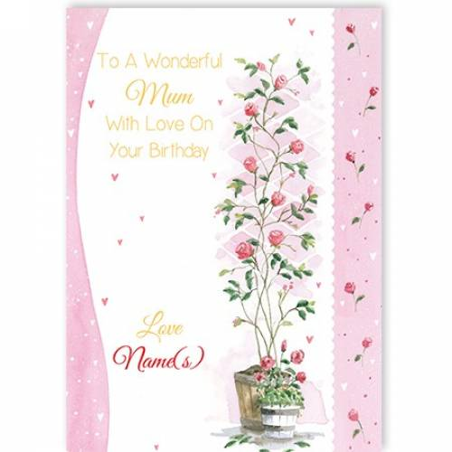 Rose Plant Mother Happy Birthday Card