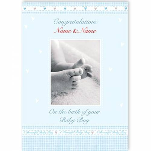 Congratulations On The Birth Of Your Baby Boy Feet Card
