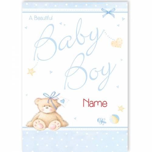 A Beautiful Baby Boy Teddy Bear Card