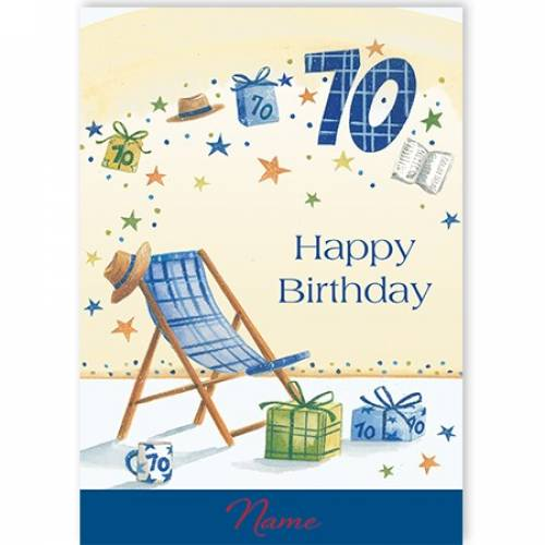 Beach Deck Chair 70th Birthday Card