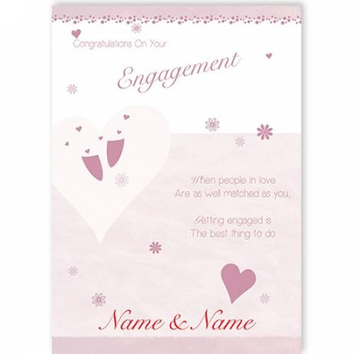 Congratulations On Your Engagement When People In Love Name And Name Card