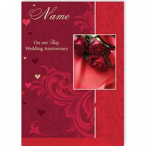 Ruby Wedding Anniversary Rose Card