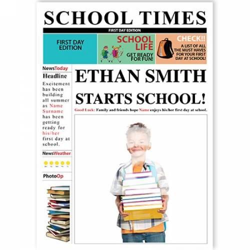 School Times Newspaper Child Starts School Card