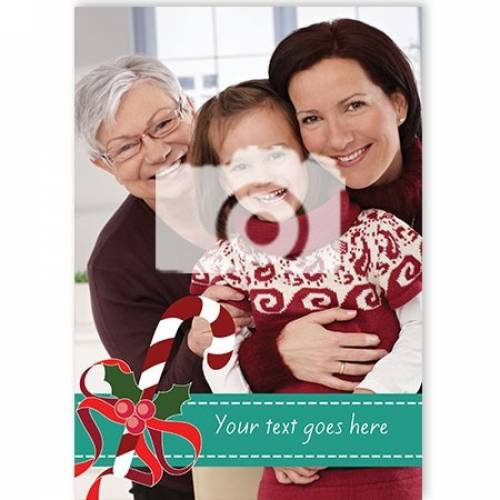 Candy Cane One Photo Christmas Card