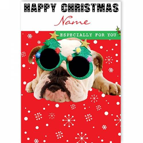 Christmas Glasses Bull Dog Card