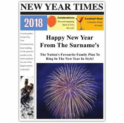Newspaper Fireworks Happy New Year Card