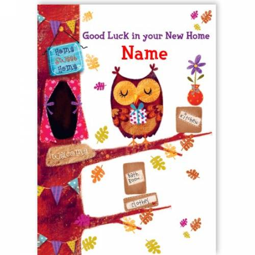 Good Luck In Your New Home Owl Card