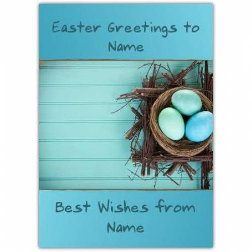 Easter Greetings Eggs In A Nest Card