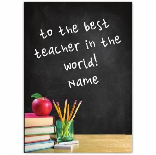 Best Teacher Chalk Board Card