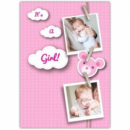Pink Photos On Pegs New Baby Card