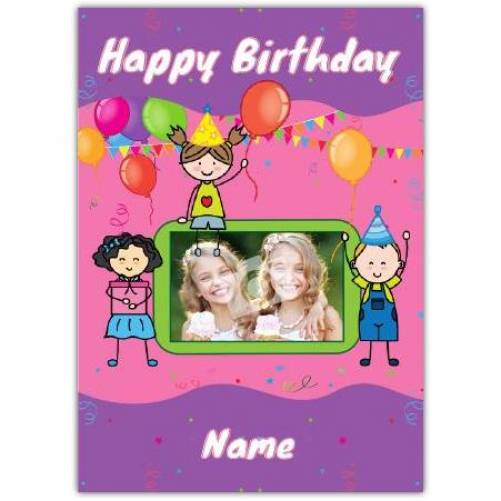 One Photo Girls Happy Birthday Card