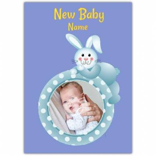 Blue Bunny Rabbit New Baby Card