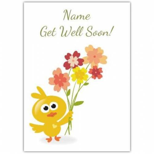 Bird With Flowers Get Well Soon Card