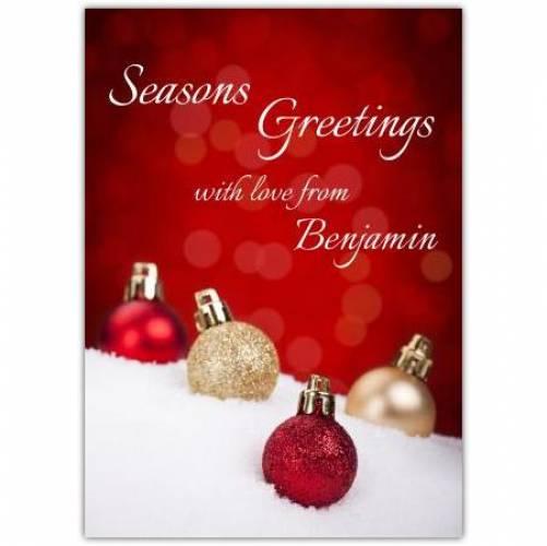 Seasons Greeting Baubles Card