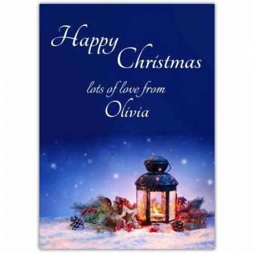 Happy Christmas Lantern Scene Card