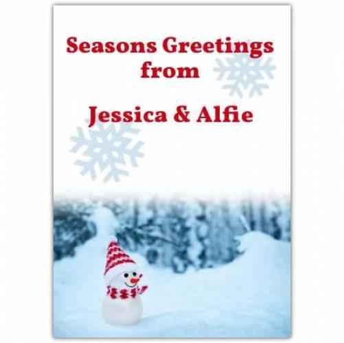 Seasons Greeting Snowman Card