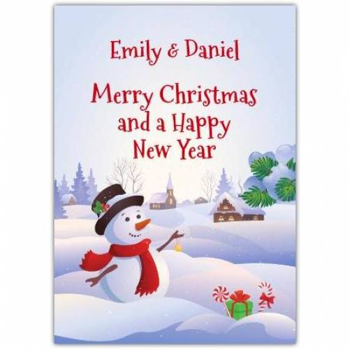 Merry Christmas And A Happy New Year Snow Scene Card