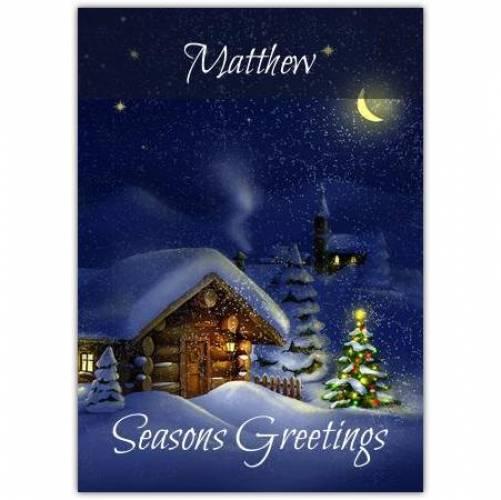 Seasons Greetings By Moonlight Card