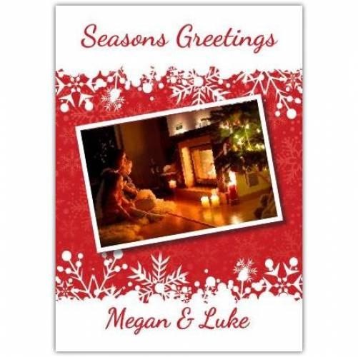 Seasons Greetings Open Fire Card