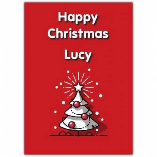 Happy Christmas White Tree Card