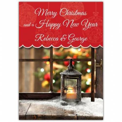 Merry Christmas And Happy New Year Lantern Card