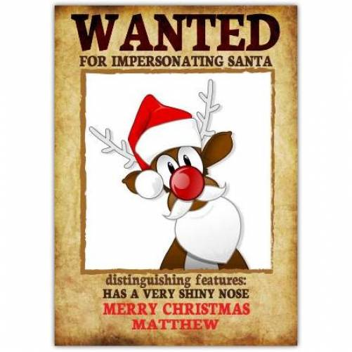 Wanted For Impersonating Santa Christmas Card