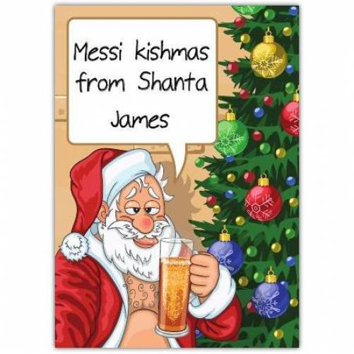 Drunk Santa Christmas Card