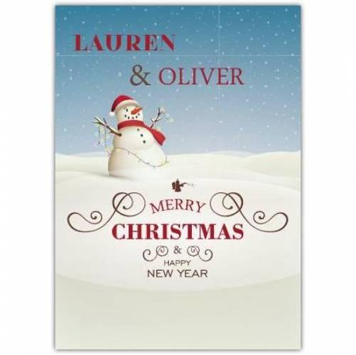 Happy New Year Snowman Christmas Card