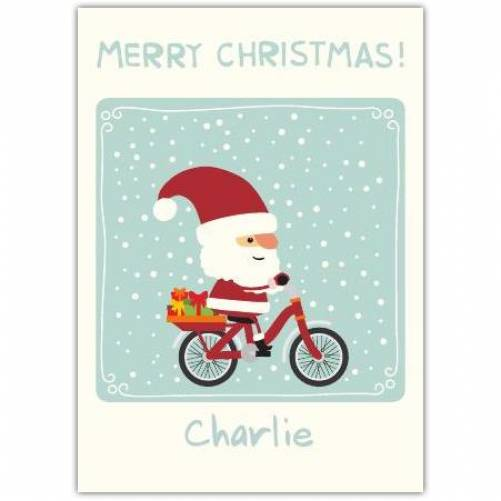 Cycling Santa Christmas Card