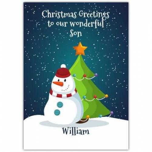 Snowman And Tree Christmas Card