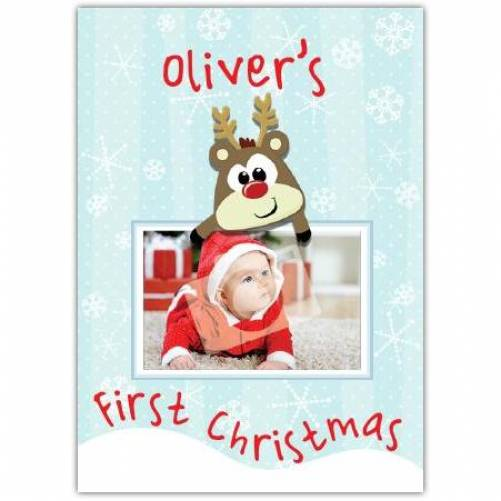 Baby Photo First Christmas Reindeer Card