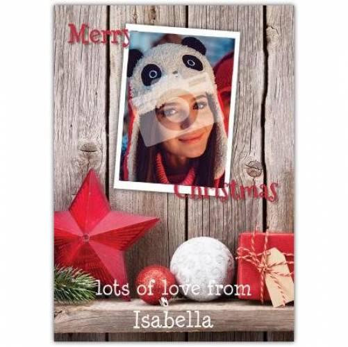 Merry Christmas Photo Wood Shelf Decorations Card