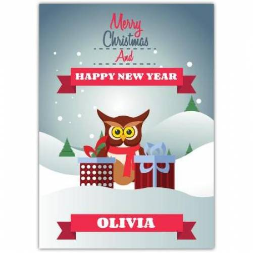 Merry Christmas And Happy New Year Owl Card