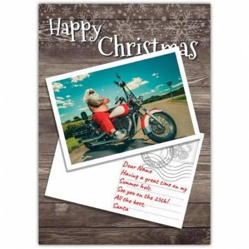 Happy Christmas Santa On Motorbike Card