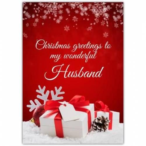 Christmas Greetings Husband Card